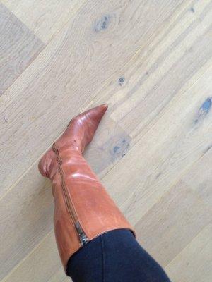 Braune Echtleder Stiefel