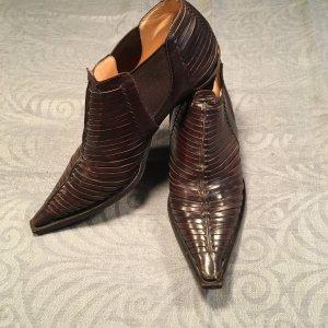 Braune extravagante Ankle Boots aus Leder