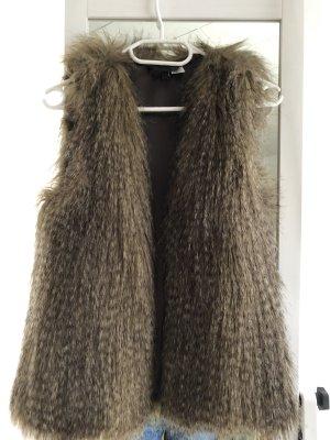 H&M Gilet en fourrure brun-brun foncé polyester