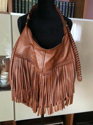 H&M Sac à franges brun-doré faux cuir