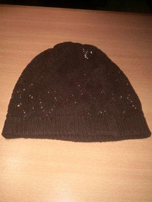 Bonnet en crochet brun coton