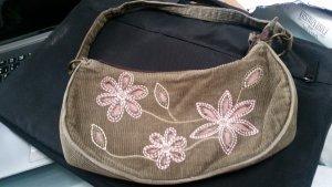Braune Handtasche mit Rosablüten aus Cord