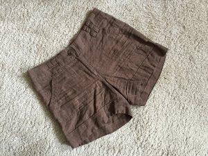 Braune High Waist Shorts aus Leinen Gr. 36