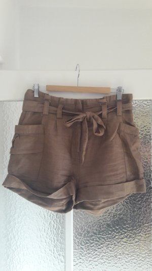 Braune High Waist-Shorts aus Leinen mit Taillengürtel