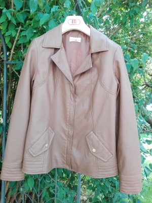 Helena Vera Faux Leather Jacket brown-cognac-coloured polyurethane