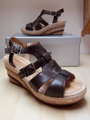 Gabor Wedge Sandals dark brown-gold-colored leather