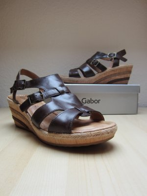 Gabor Wedge Sandals gold-colored-dark brown leather