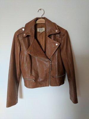 Braune Leder Jacke von Mango