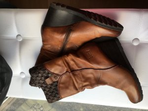 Braune Leder Keilabsatz Stiefel 40 Bama
