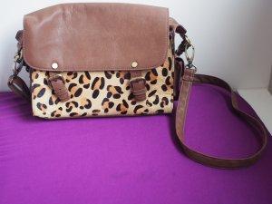 Braune Leder Leoparden Satchel von Warehouse