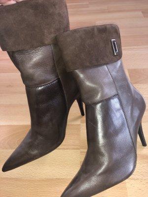Braune Leder Stiefeletten Via Uno Gr 38 neu Absatz 10 cm