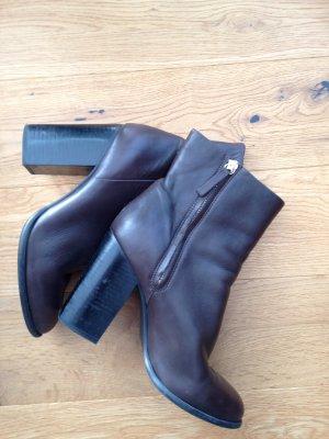 Braune Leder Stiefeletten von H&M Mokka