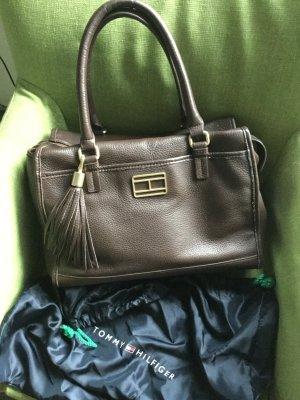 Braune Lederhandtasche von Tommy Hilfiger