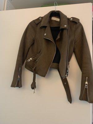 Zara Basic Chaqueta de motociclista marrón grisáceo