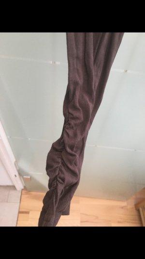 Braune Leggings mit Raffung