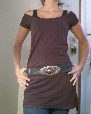 Camicia lunga marrone scuro-marrone Cotone