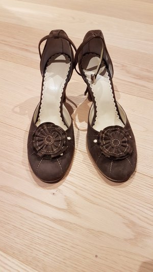 Escarpins Mary Jane brun faux cuir