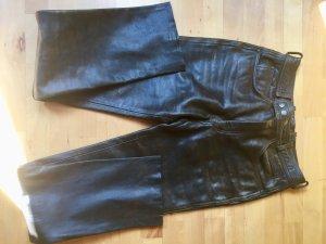 Braune Retro Echt-Lederhose in 5-Pocket Form