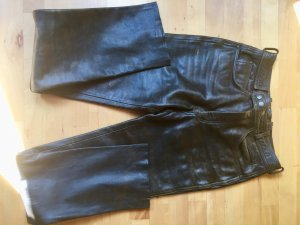 Braune Retro Echt-Lederhose in 5-Pocket Form