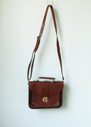 Braune Satchel Tasche klein mit goldenen Details Bag Crossbody Clutch