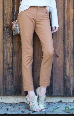 Braune/ Senffarbene Hose mit schmalen Bein, Zara, XS, 32/34, 7/8 Länge