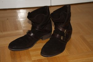 Mexx Slouch Booties brown red leather