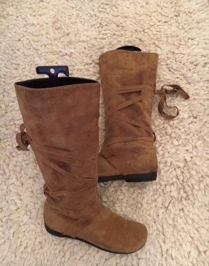 Slouch Boots cognac-coloured suede