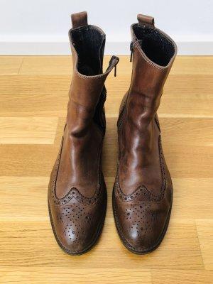 Braune Stiefeletten aus Leder, Größe 39