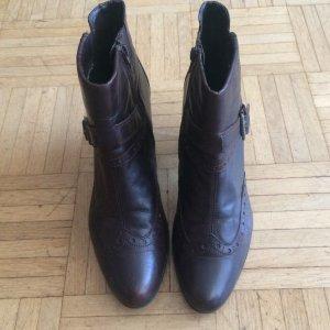 Braune Stiefeletten, echt Leder, Tamaris, Gr. 41, tolle Details, Budapester-Style