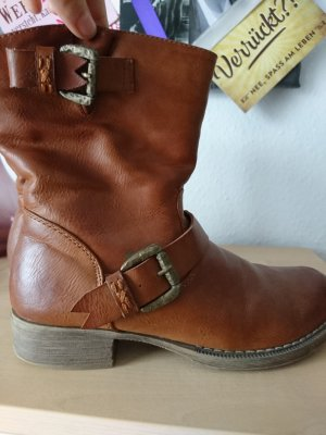 Winter Booties cognac-coloured