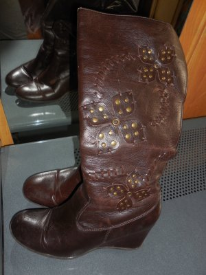Platform Boots brown imitation leather
