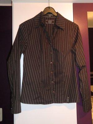 braune Street-One Bluse mit weißen Nadelstreifen