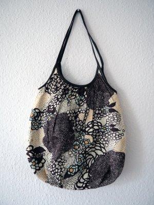 Braune Tasche aus Stoff/Kunstleder, vegan, mit Blumenmuster