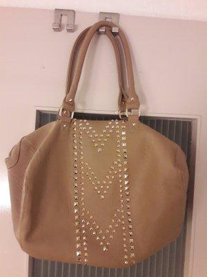 Braune Tasche mit goldenen Nieten Handtasche Pimkie