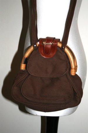 Braune Tasche mit Holz – Fundstück! Hipster! Vintage!