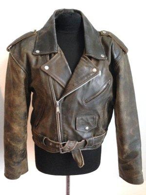 Braune Vintage Biker Lederjacke, echtes Leder, Gr. 38/40