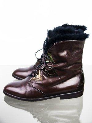 Botas con cordones marrón-marrón-negro Cuero