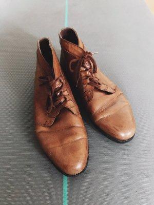 Braune Vintage Leder Schnürschuhe