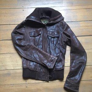 Braune Vintage Lederjacke, Größe 36