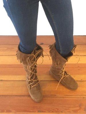 Braune Wildleder Moccasin Stiefel