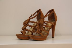 H&M Platform High-Heeled Sandal sand brown-light brown suede