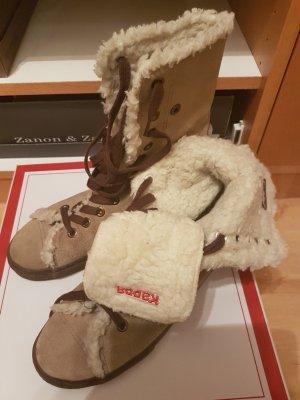 Braune Winterschuhe von Kappa in Chucks-Style mit weißen Faux-Fur (40)