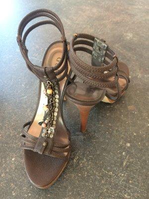 Guess Sandalias con plataforma marrón oscuro-marrón-negro