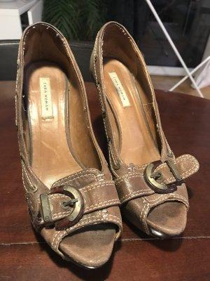 Braune Zara Peep Toe Heels
