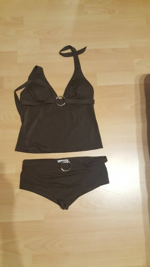 Brauner Bikini mit langem Oberteil