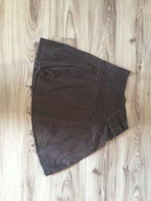 Plaid Skirt dark brown cotton