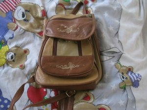 Backpack light brown leather