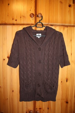 Coarse Knitted Jacket brown cotton
