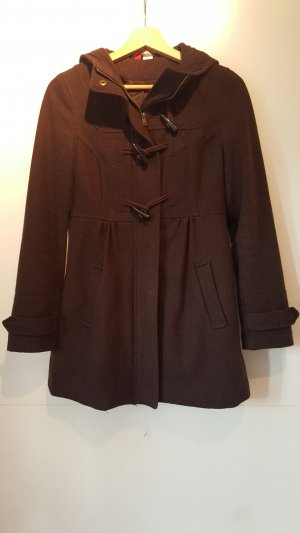 H&M Short Coat dark brown-brown red mixture fibre