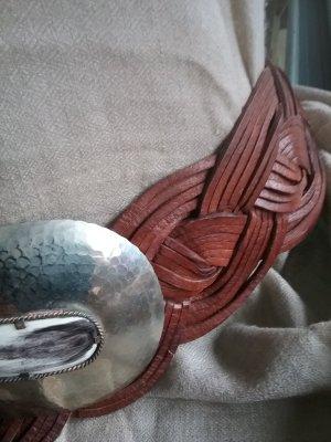 Brauner Leder Flechtgürtel mit Silberschliesse